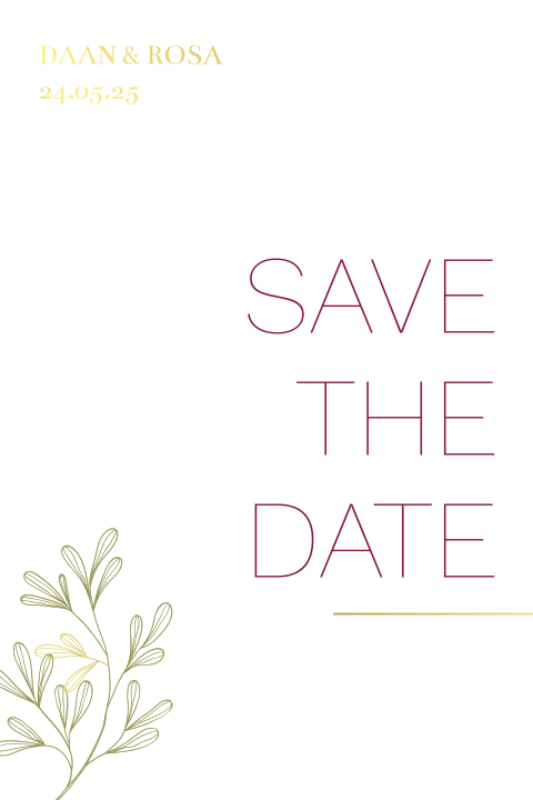 Save the date - ginkgo blad wedding stationery